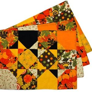 Quilted Autumn Fall Placemats  ~ Handmade Set of 4